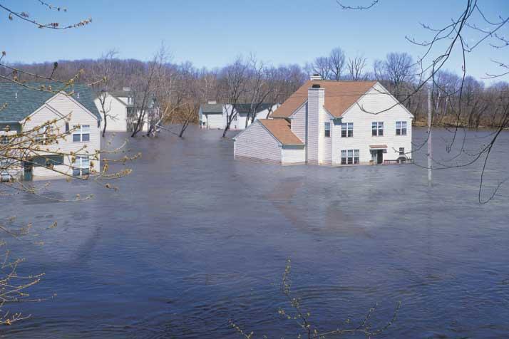 Floodwaters in a neighborhood