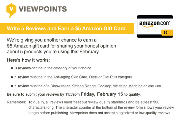 Reviews promotion on Viewpoints