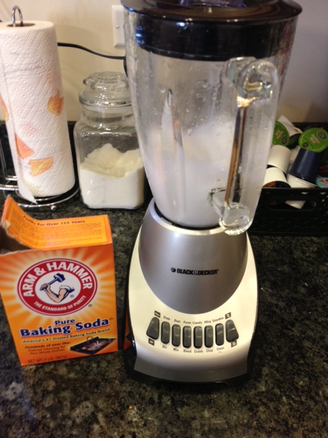 Clean blender with baking soda and water.