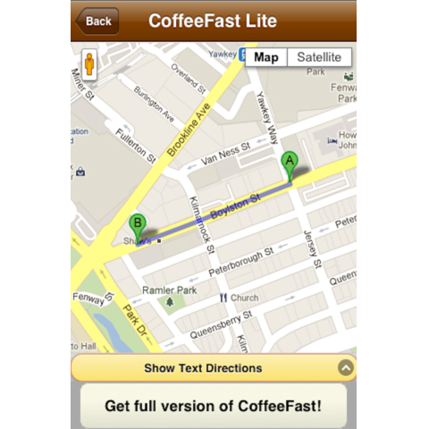 The CoffeeFast app gives you walking or driving directions by map or list.