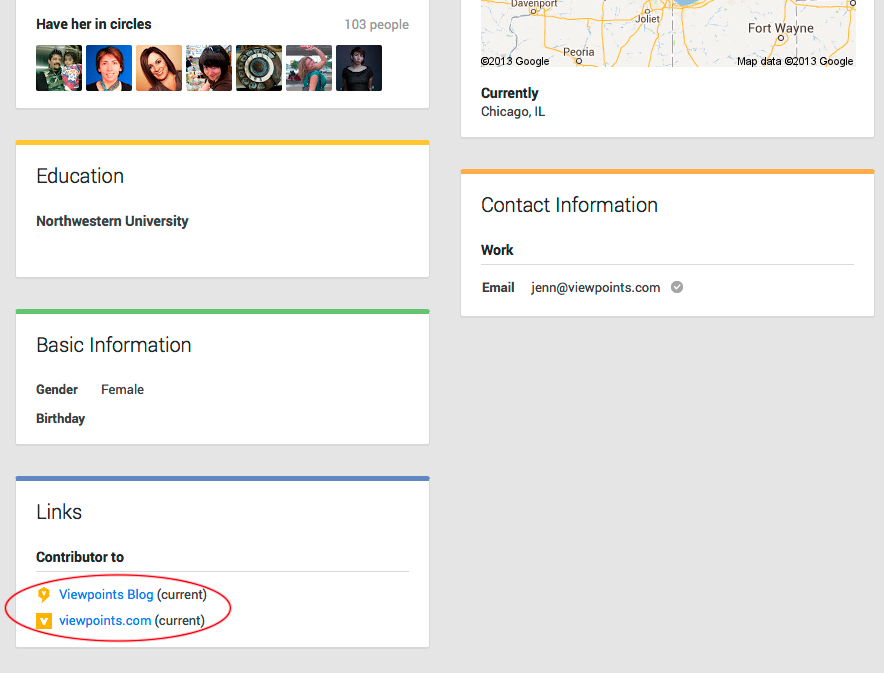 Showing info on G+ About page