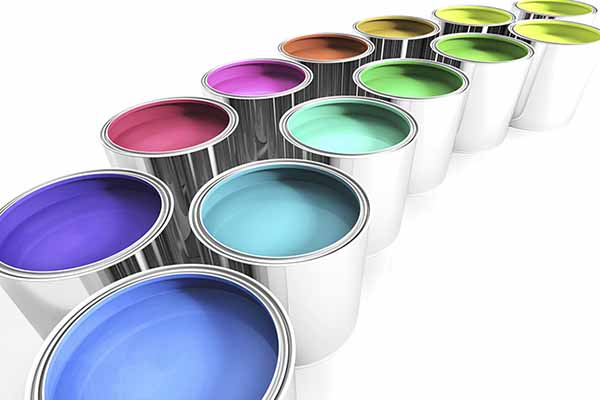 paint cans in a line