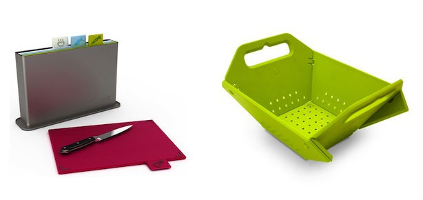 The Joseph Joseph cutting board set and colander can be fun gifts for