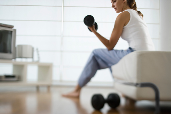 At-home workouts can be done with equipment that costs you less than $200. Use a Bosu ball and weights to do at-home workouts and circuit training.
